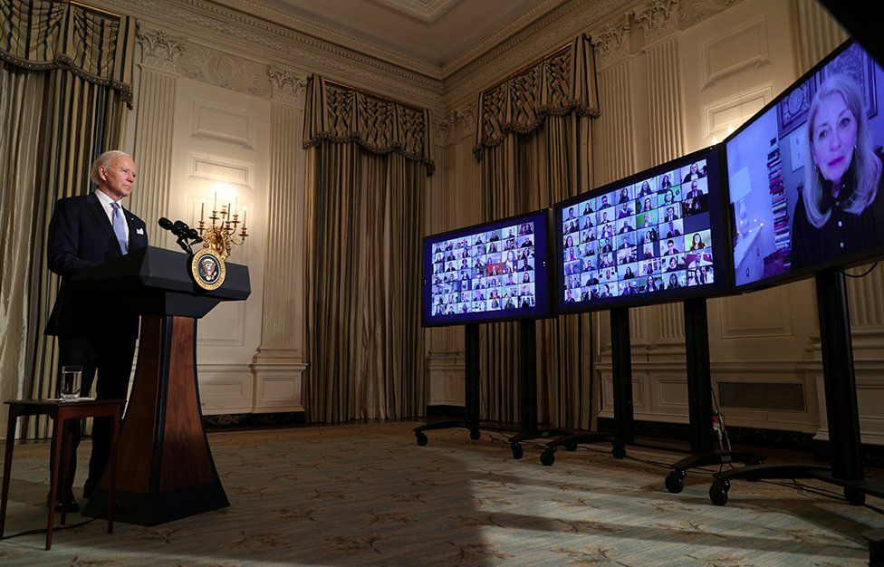 U.S. President Joe Biden swears in presidential appointees in a virtual ceremony in the State Dining Room of the White House in Washington, after Biden's inauguration as the 46th President of the United States, U.S., 20 January 2021.