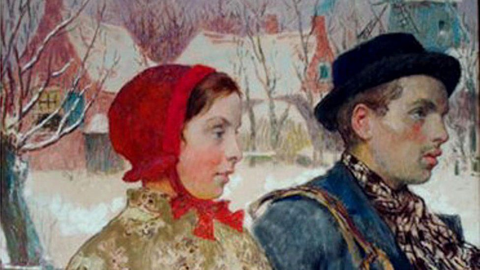 Winter, by American artist Gari Melchers, shows a man and a woman walking in winter