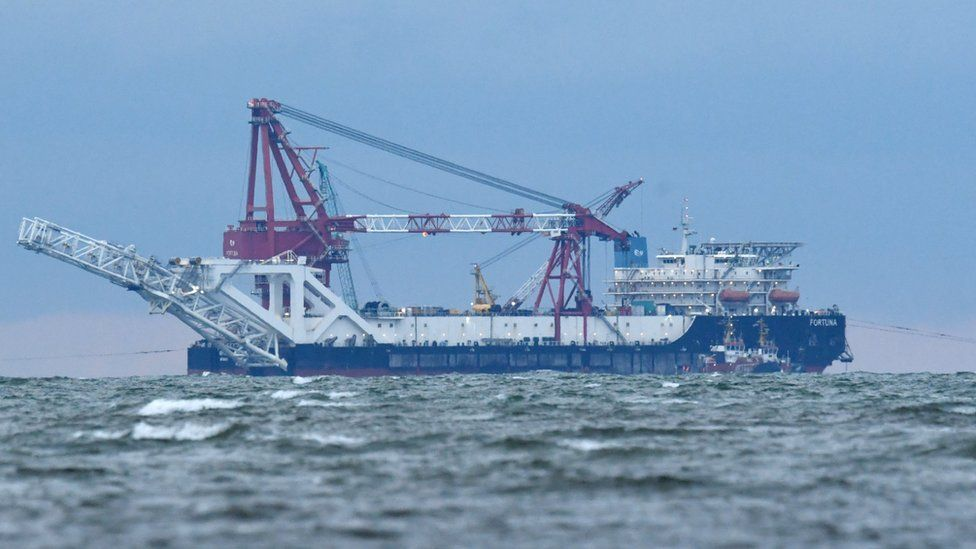 US sanctions have been imposed on this ship, the Fortuna, whose job is to lay the rest of the pipeline