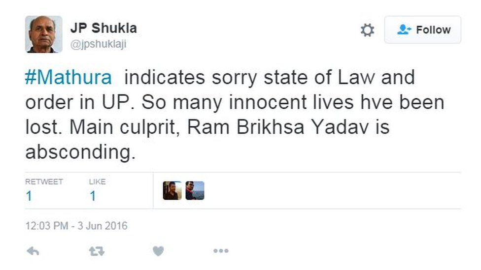 #Mathura indicates sorry state of Law and order in UP. So many innocent lives hve been lost. Main culprit, Ram Brikhsa Yadav is absconding.