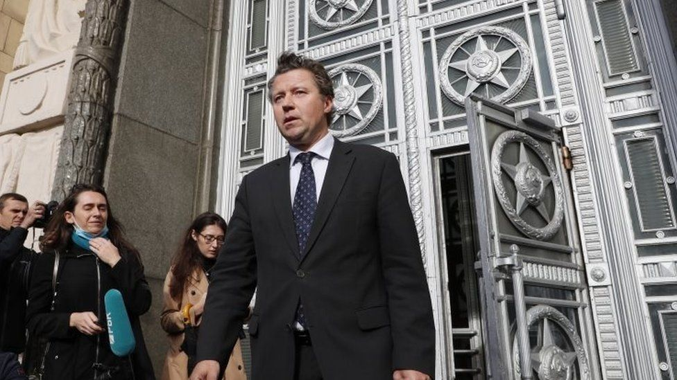 German ambassador leaves the Russian foreign ministry on 9 September 2020