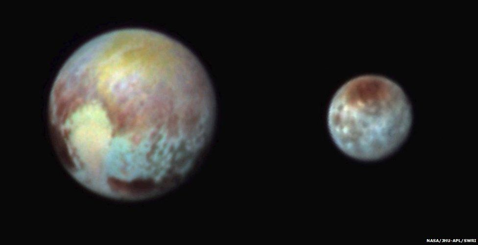 Pluto and Charon in stretched Ralph images