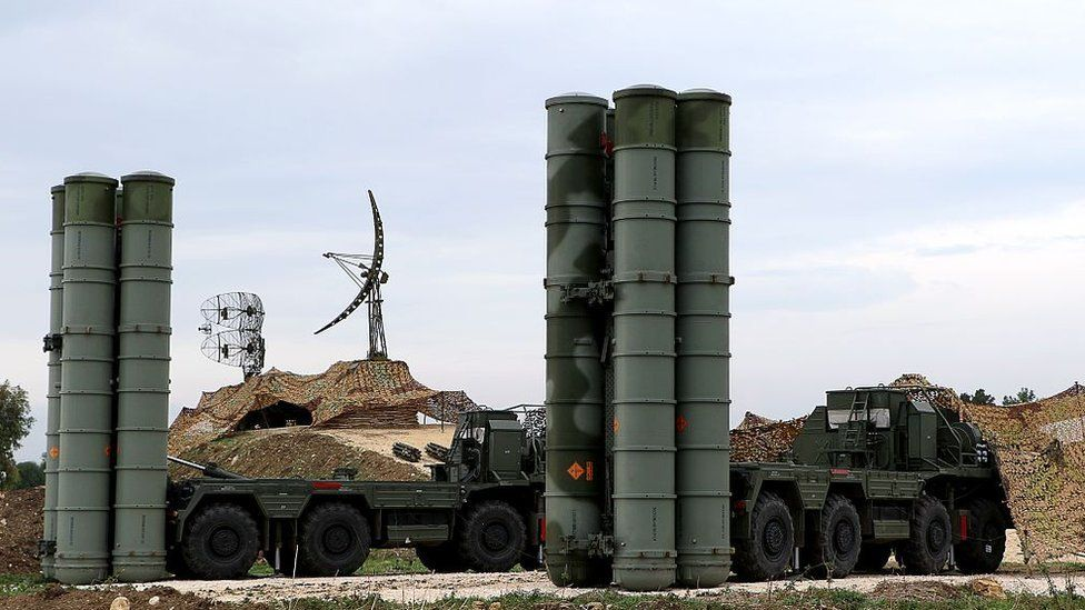 Russian S-400 Triumf S-400 Triumf missile system at the Russian Hmeimim military base in Latakia province, in the northwest of Syria, on December 16 2015