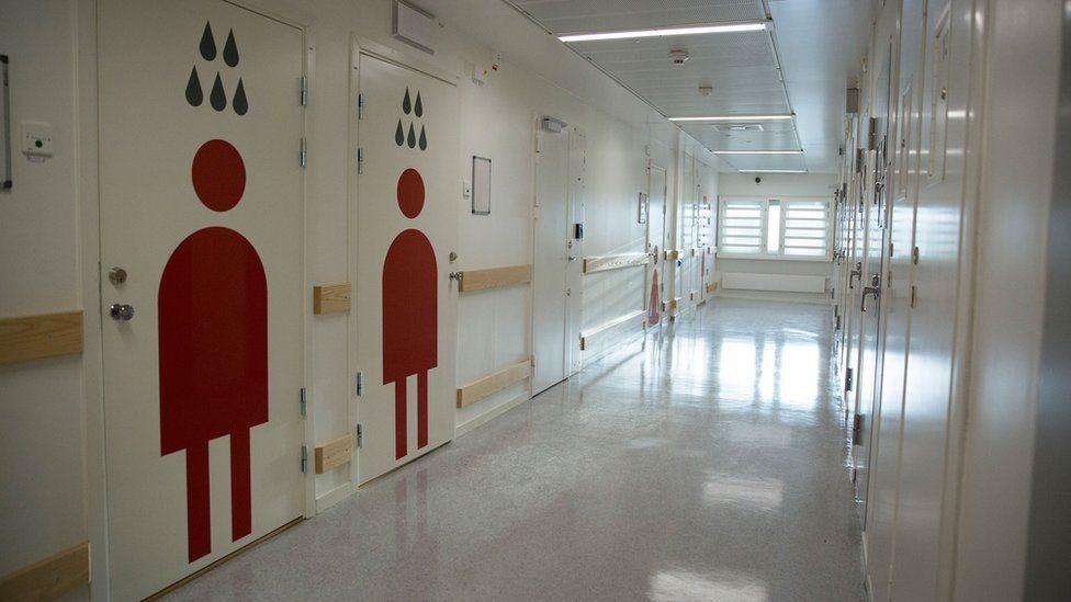 A corridor in Kronoberg prison