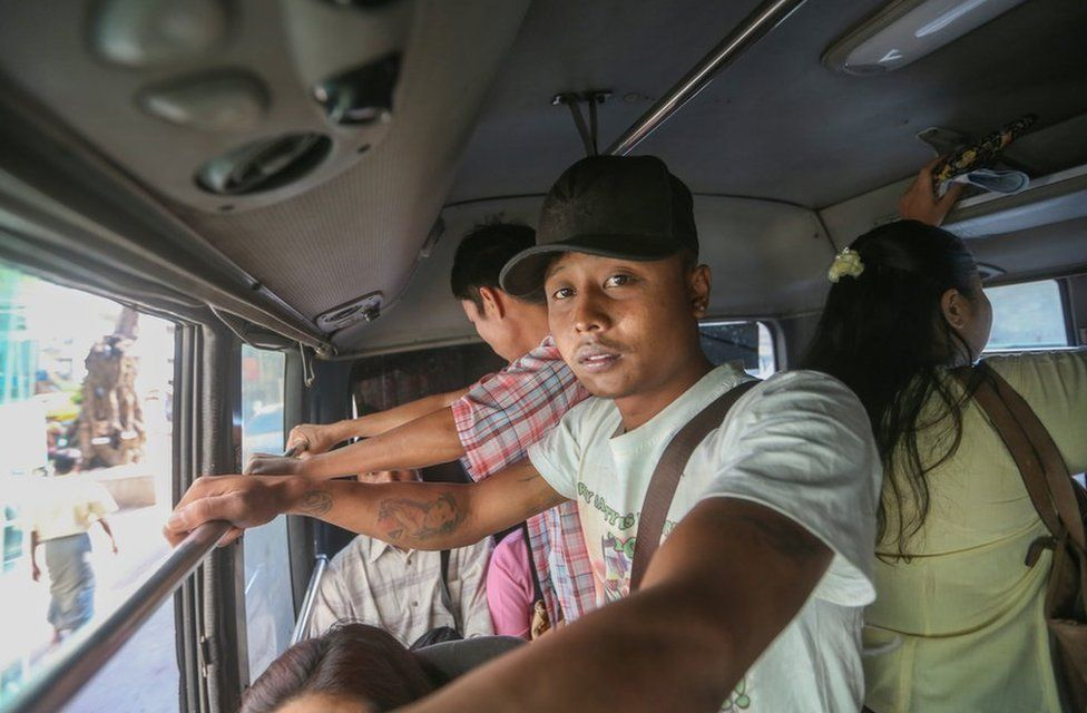 Passenger on Yangon's new bus system