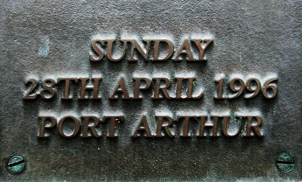 A plaque on on the Port Arthur memorial site is seen during a commemoration service to mark the 10th anniversary of the massacre 28 April 2006 in Port Arthur, Australia