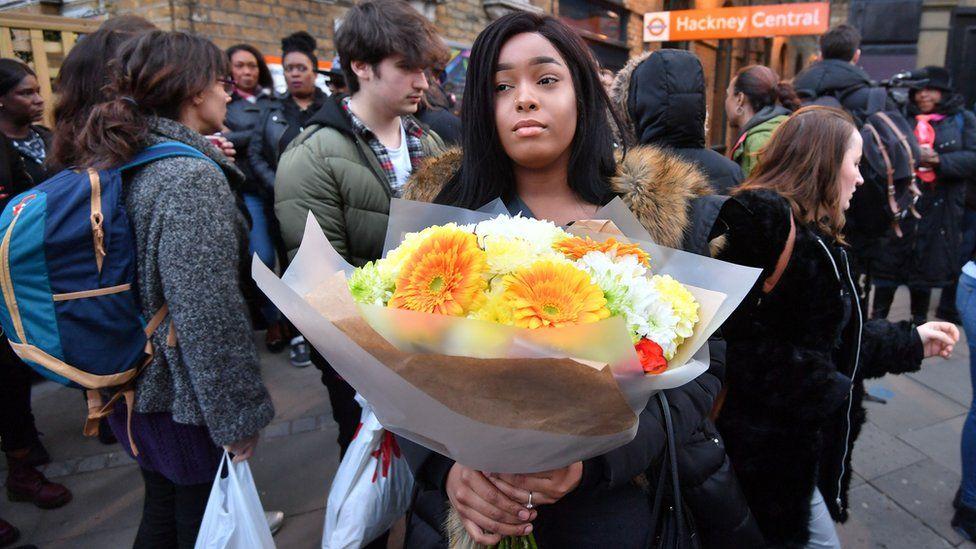A protester in Hackney
