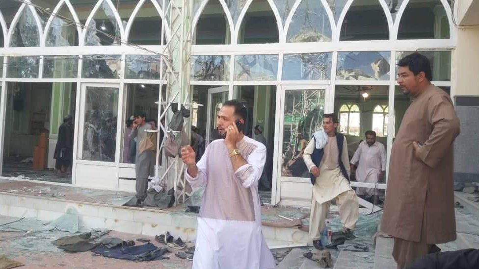The aftermath of the attack showing broken windows