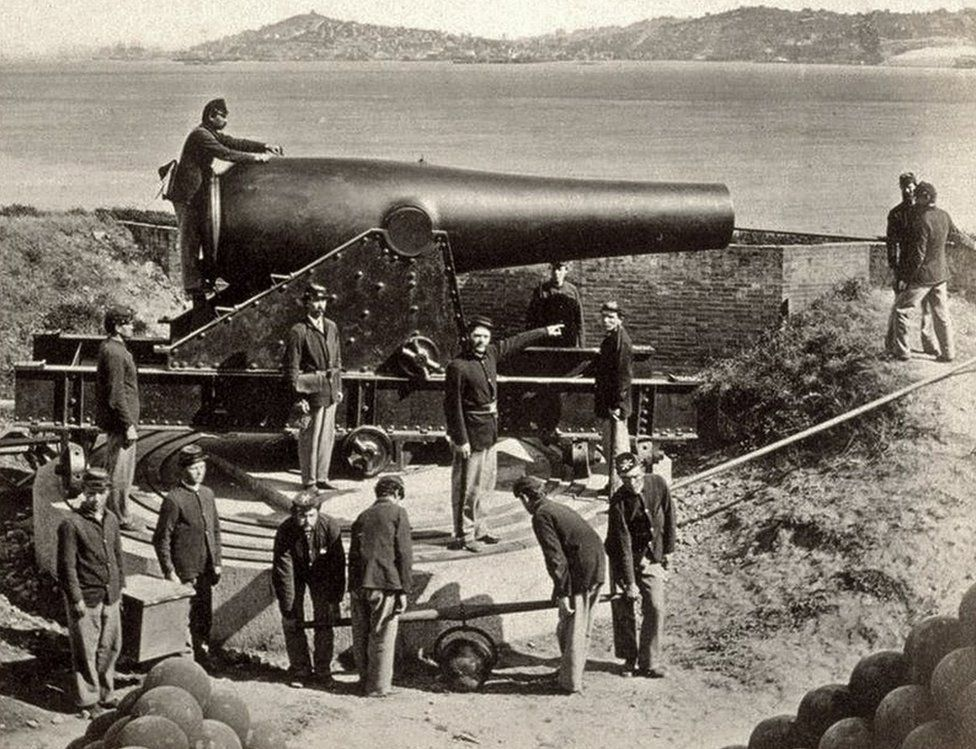 A photo from 1869 shows soldiers on the island back when it was still a fort