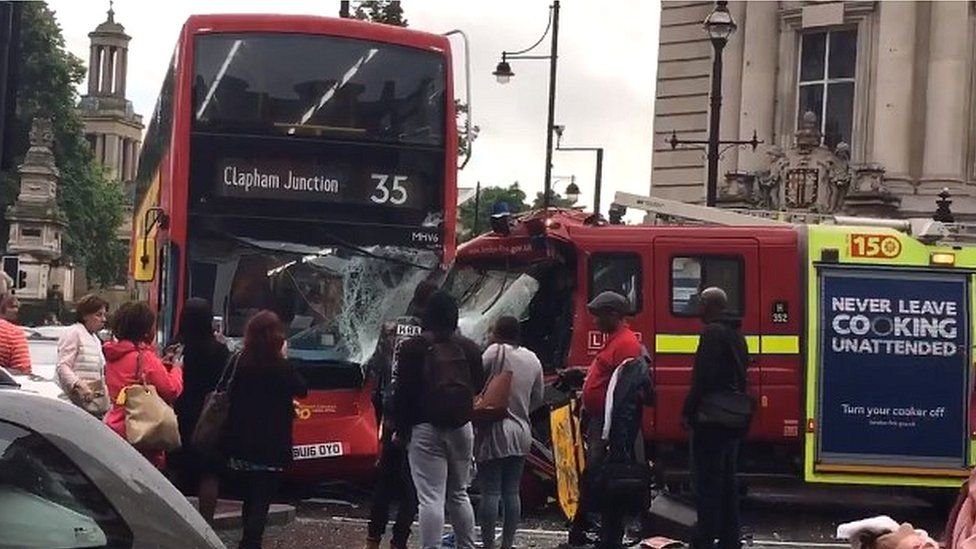 Bus crashed into fire engine in Brixton