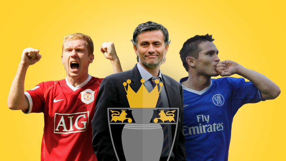 Paul Scholes (left), Jose Mourinho (centre) and Frank Lampard (right)