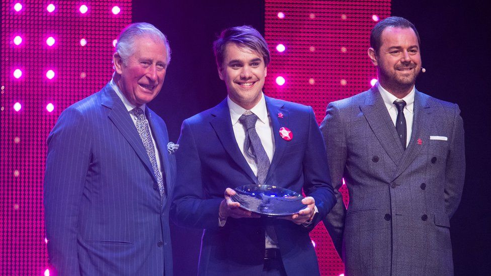 Prince Charles, Prince of Wales and Danny Dyer (R) with winner of mentor of the year award, Rahul Mehra