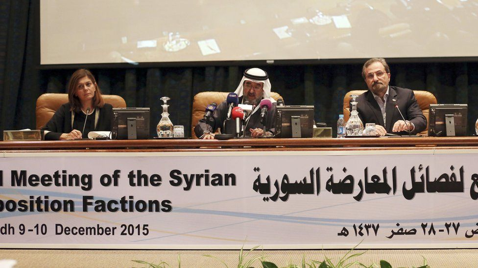 Meeting of Syrian opposition factions in Riyadh, Saudi Arabia in December 2015