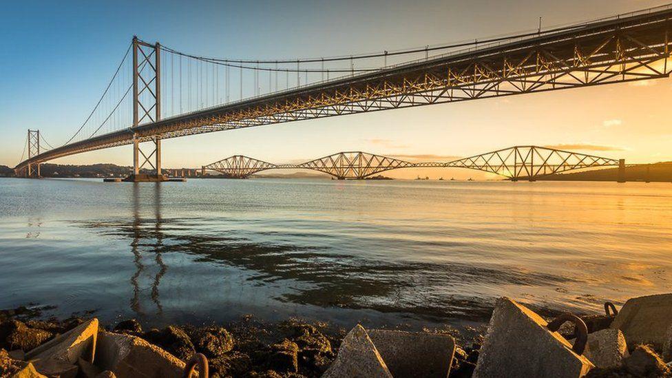 The Forth bridges at dawn.