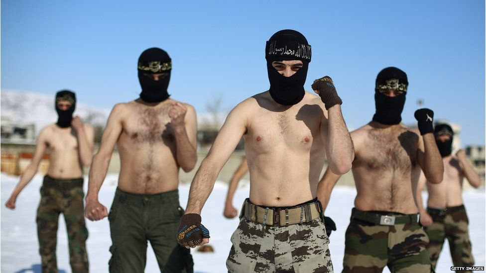 Rebel fighters with the Jaish al-Islam (Army of Islam) during a training session