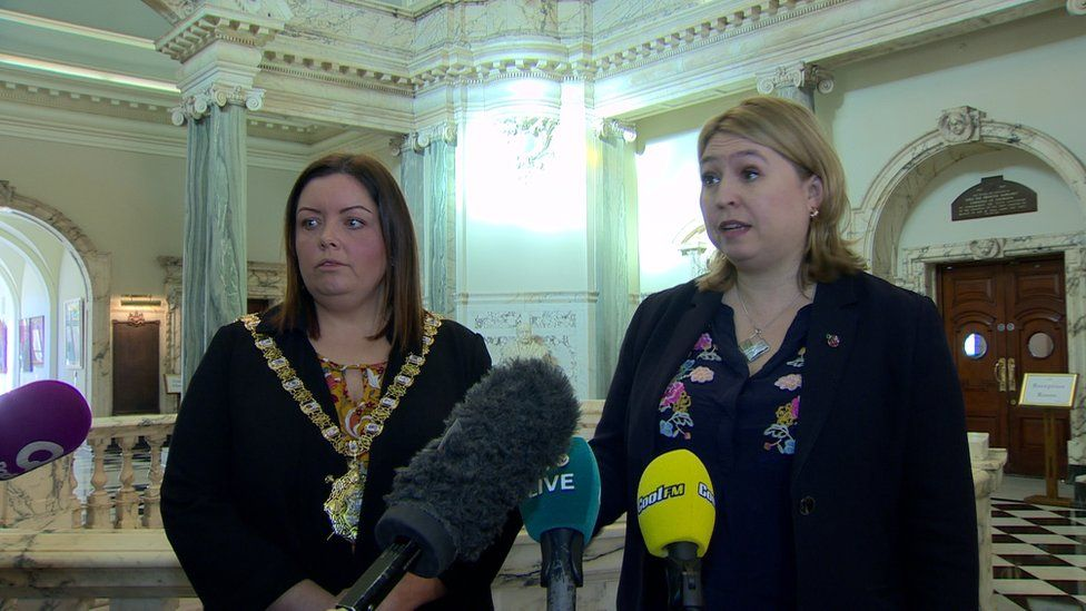 Secretary of State Karen Bradley with Belfast Lord Mayor Deirdre Hargey at a meeting at City Hall