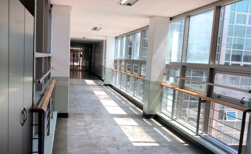 An empty school corridor