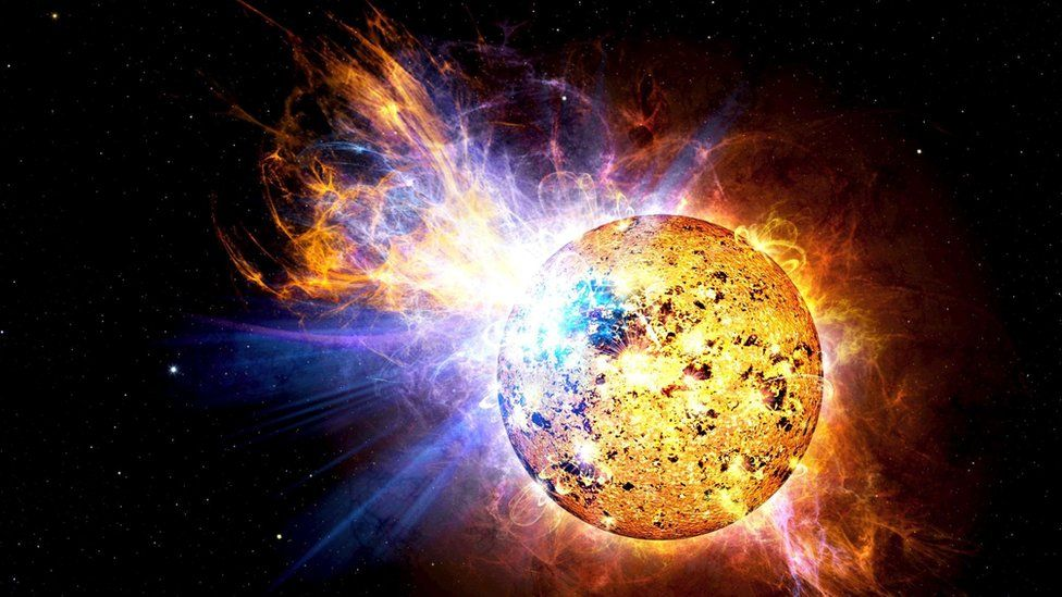 Artist's impression of superflare from red dwarf star