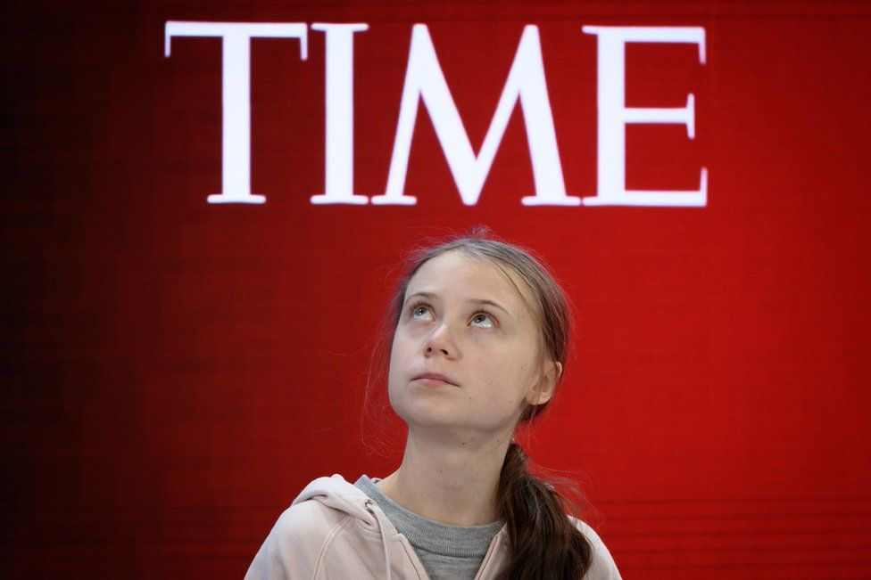 Swedish climate activist Greta Thunberg attends a session at the Congress centre during the World Economic Forum annual meeting in Davos.