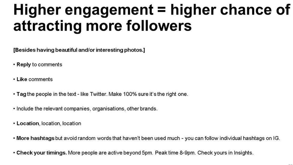 "Slide showing: ""Higher engagement = higher chance of attracting more followers"""