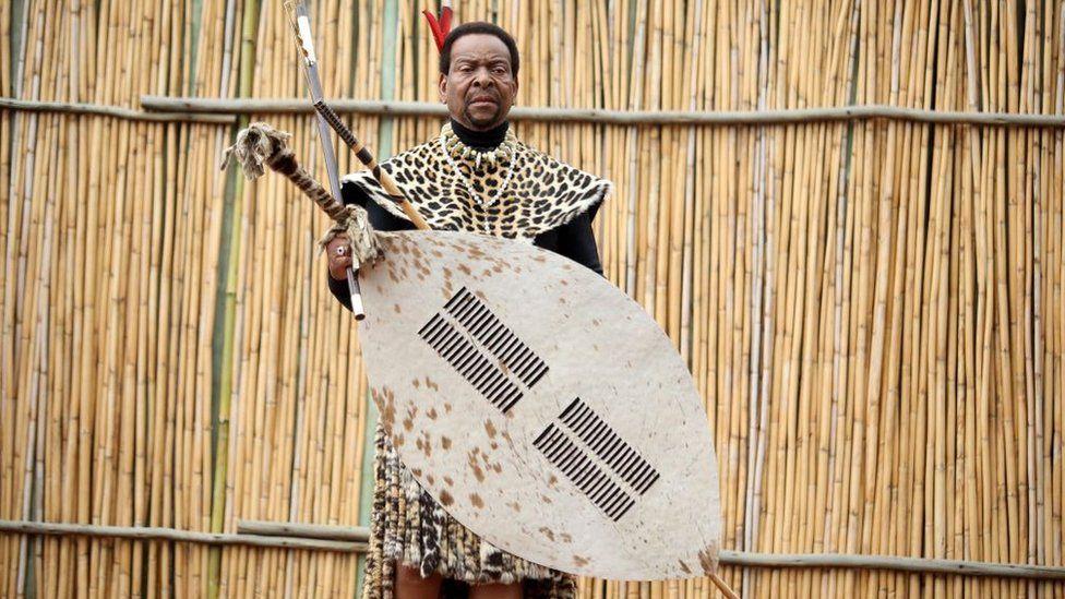 King Goodwill Zwelithini during the annual Umkhosi Womhlanga (Reed Dance) at Enyokeni Royal Palace on September 07, 2019 in Nongoma, South Africa.