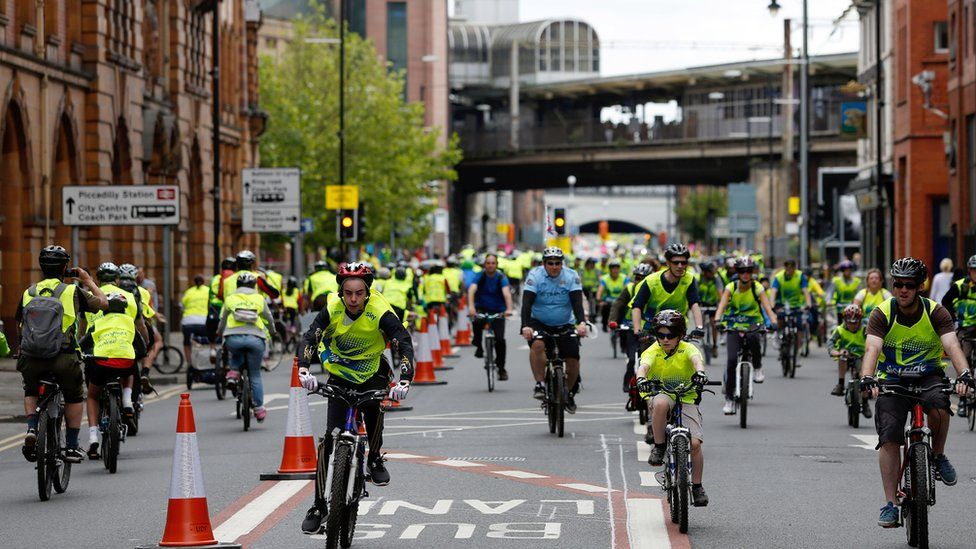 People taking part in Sky Ride in Manchester