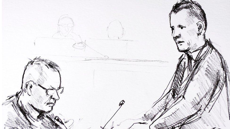 Court sketch of Peter Madsen by Anne Gyrite Schuett