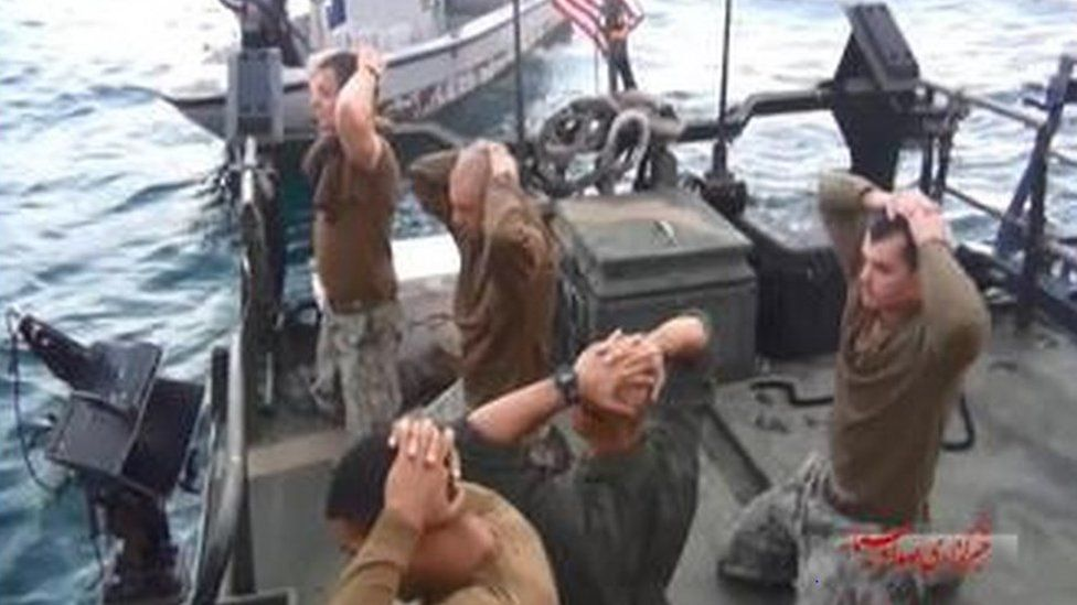 US sailors apparently being detained by Iranian authorities on Tuesday, in pictures carried by Iranian state broadcaster Irib News