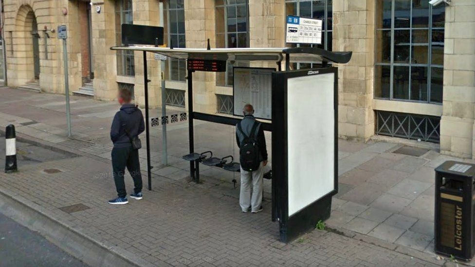 Bus shelter in Leicester City Centre