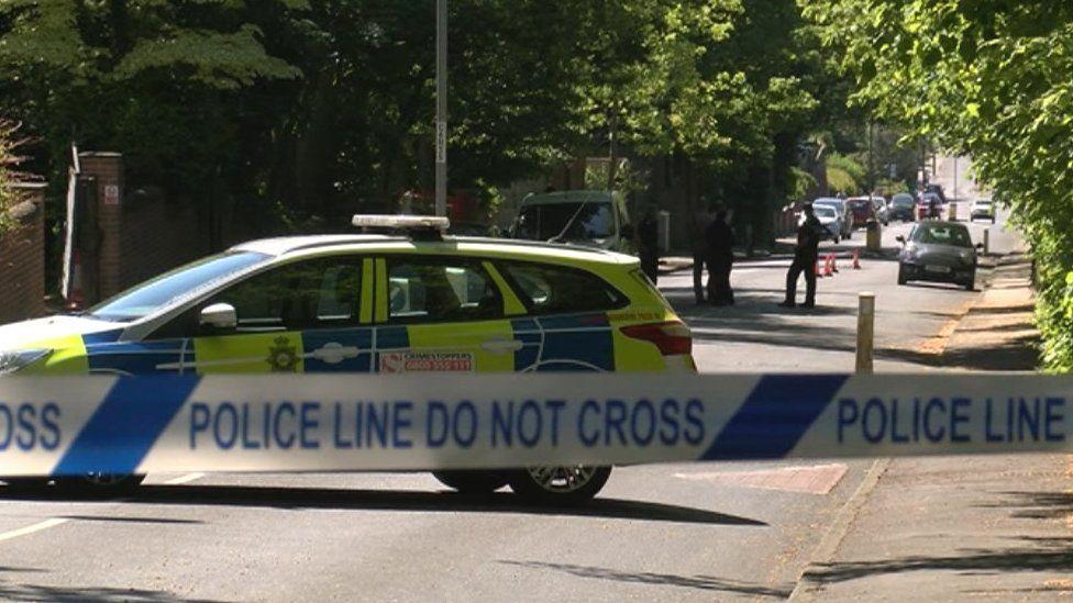 Police car near scene