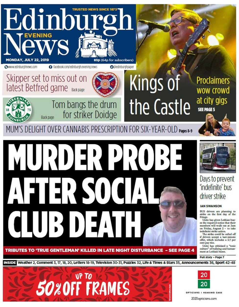 Scotland s papers Murder investigation after social club