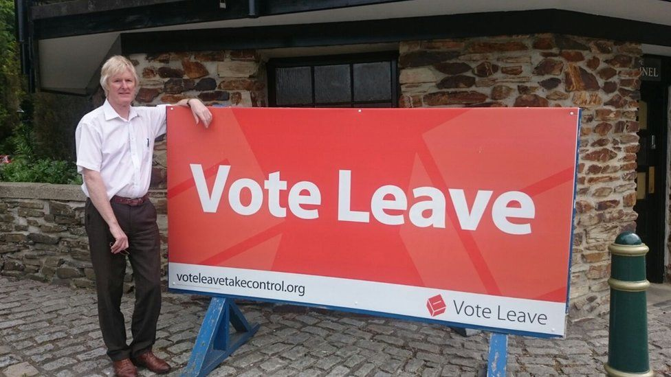 Bruce Robertson with a Vote Leave sign