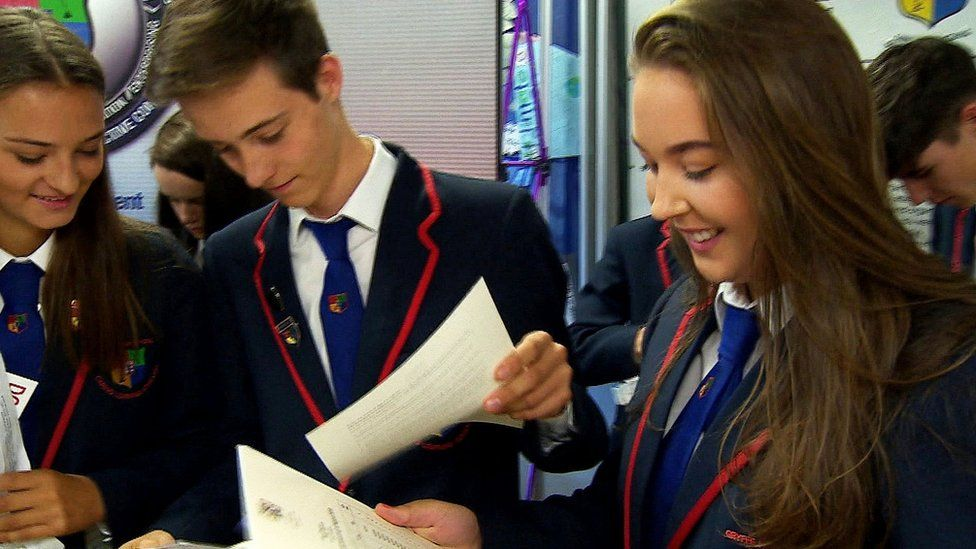 Pupils at Gryffe High School getting their results