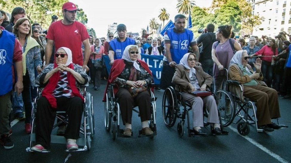 Members of the Mothers of Plaza de Mayo group during a rally in Buenos Aires. Photo: 30 April 2017