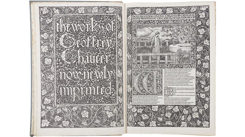 A 1896 edition of the works of Chaucer, with 87 engraved illustrations designed by Pre-Raphaelite artist Edward Burne-Jones
