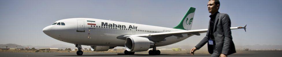 An Iranian Airbus plane in Sanaa airport, Yemen, 1 March 2015