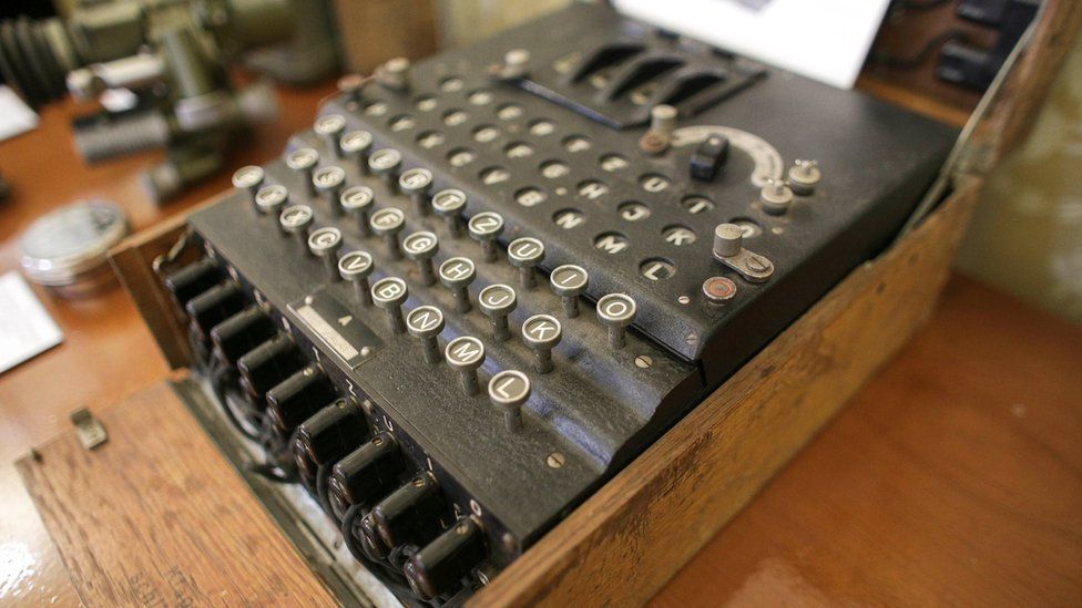 A close up of the Enigma cipher machine on display at an auction house in Bucharest, Romania, July 11, 2017.