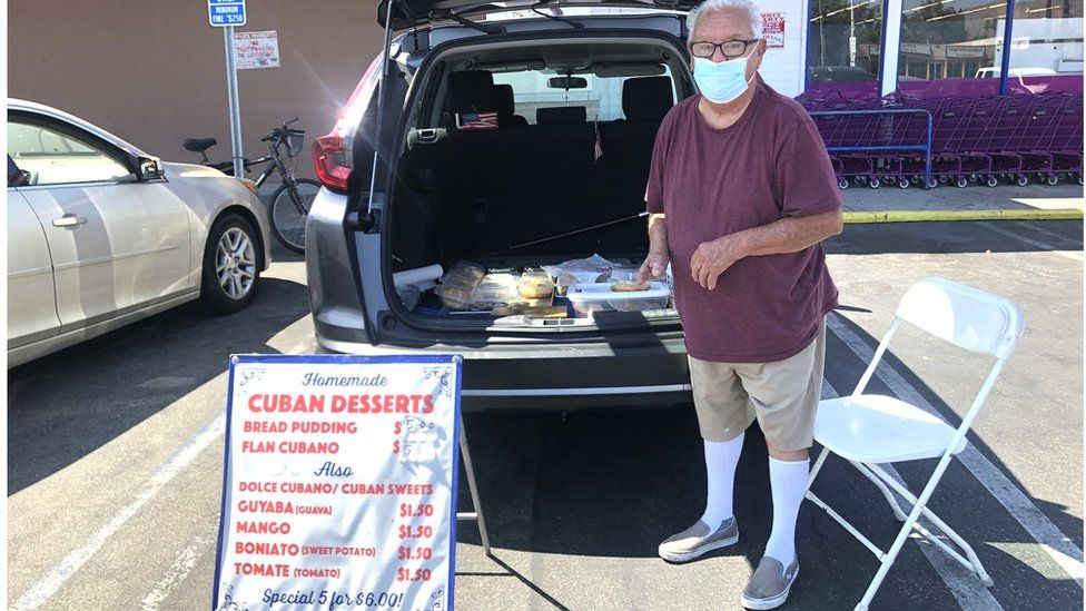 A Cuban food vendor in a Los Angeles car park, who works outside only between 10.30 and 12.00 to beat the worst of the heat