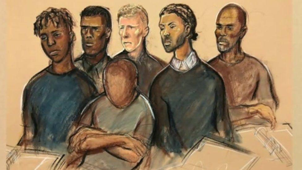 Court sketch of (L-R) Aristote Yenge, Adebayo Amusa, Callum Plaats, Isaac Calver, Leon Glasgow and the 17-year-old boy (front)