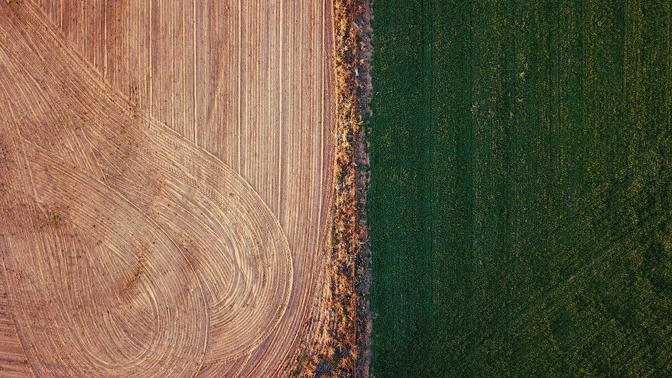 An irrigated paddock can be seen next to a ploughed paddock on a farm located on the outskirts of the town of Mudgee