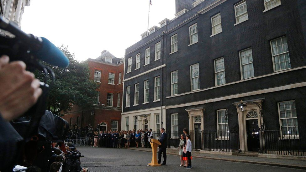 David Cameron and family outside Downing Street