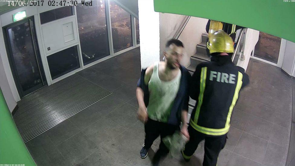 Omar Alhaj Ali arrives at ground floor - image from CCTV
