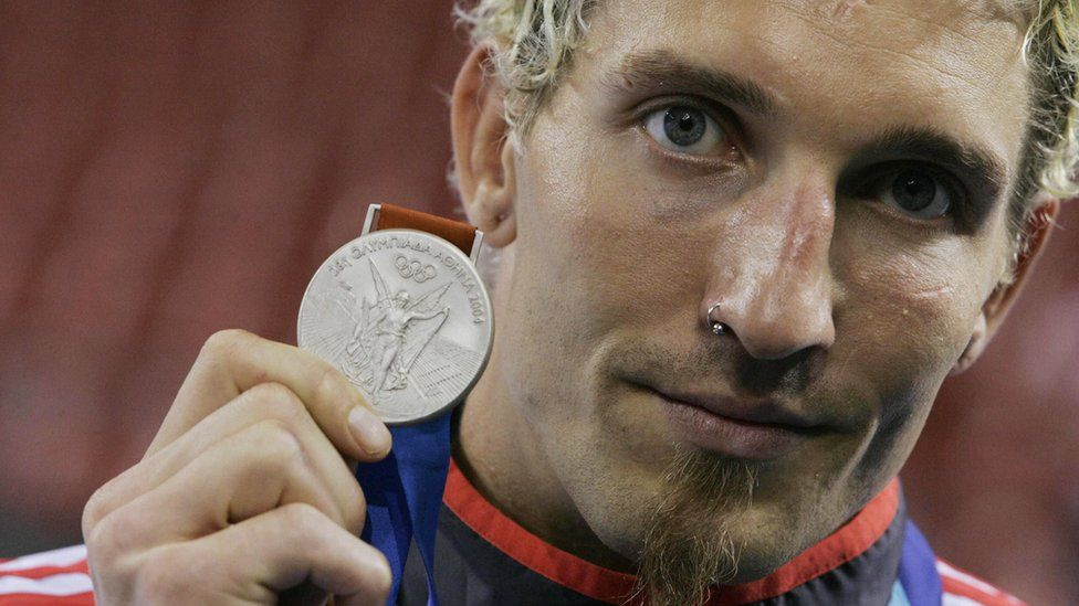 Stefan Kretzschmar with his silver handball medal at the Athens 2004 Olympics