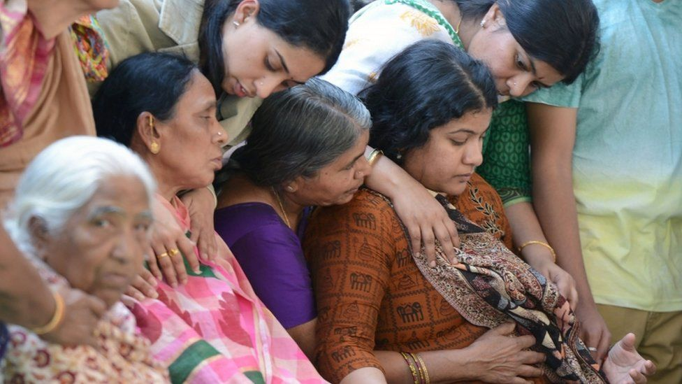 Kuchibhotla's shocked widow was comforted by family members
