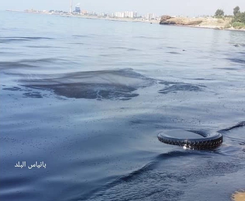 Photograph posted on Facebook group Baniyas al-Balad purportedly showing oil slick on beach near the Syrian Mediterranean port of Baniyas (30 August 2021)