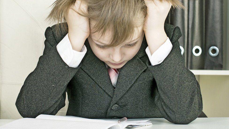 Schoolboy studying