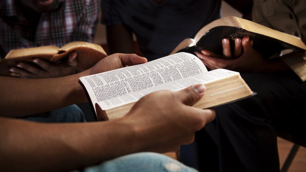 Young people in bible study