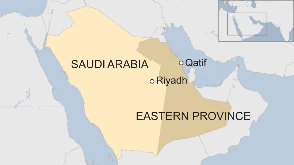 Map of Saudi Arabia showing location of Qatif