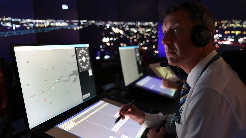 Nats personnel give a demonstration in the operations room, which will direct aircraft at London City Airport