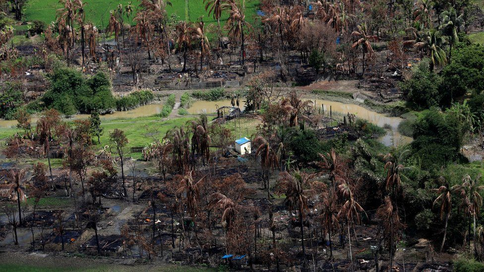 Aerial view of a burned Rohingya village near Maungdaw, north of Rakhine state, Myanmar September 27, 2017